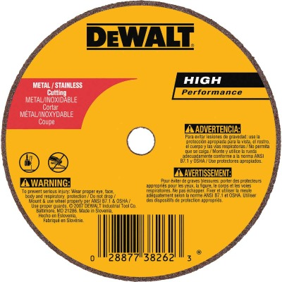 DeWalt HP Type 1 4 In. x 1/16 In. x 1/4 In. Metal/Stainless Cut-Off Wheel