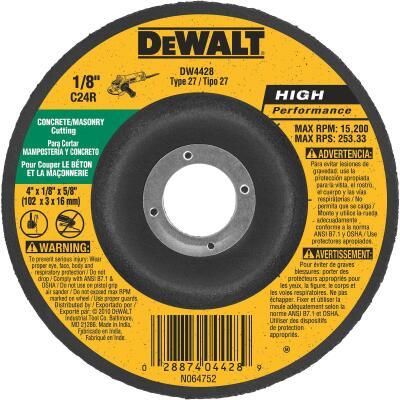 DeWalt HP Type 27 4 In. x 1/8 In. x 5/8 In. Masonry Cut-Off Wheel