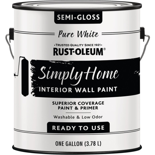 Rust-Oleum Simply Home Semigloss Pure White Interior Wall Paint, Gallon
