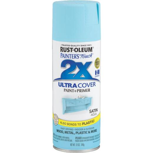 Rust-Oleum Painter's Touch 2X Ultra Cover 12 Oz. Satin Paint + Primer Spray Paint, Aqua