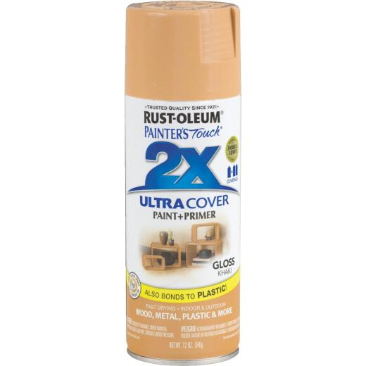 Rust-Oleum Painter's Touch 2X Ultra Cover 12 Oz. Gloss Paint + Primer Spray Paint, Khaki