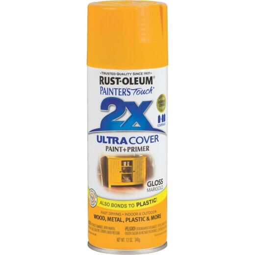 Rust-Oleum Painter's Touch 2X Ultra Cover 12 Oz. Gloss Paint + Primer Spray Paint, Marigold