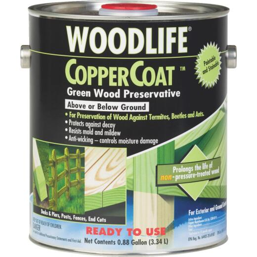 Rust-Oleum Woodlife Water-Based Coppercoat Green Wood Preservative, 1 Gal.