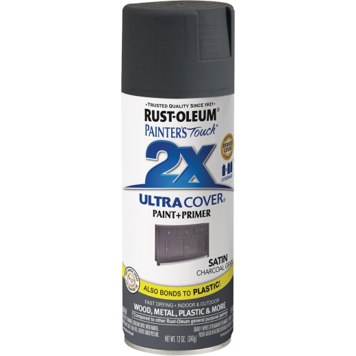 Rust-Oleum Painter's Touch 2X Ultra Cover 12 Oz. Charcoal Gray Satin Spray Paint